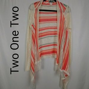 Two One Two | Open Front Striped Cardigan